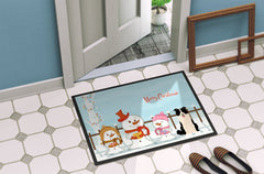 Merry Christmas Carolers Border Collie Black White Indoor or Outdoor Mat 24x36 BB2449JMAT