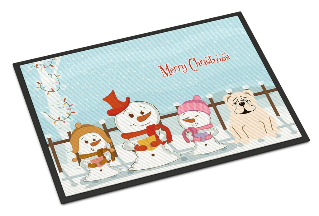 Buy this Merry Christmas Carolers English Bulldog White Indoor or Outdoor Mat 18x27 BB2454MAT