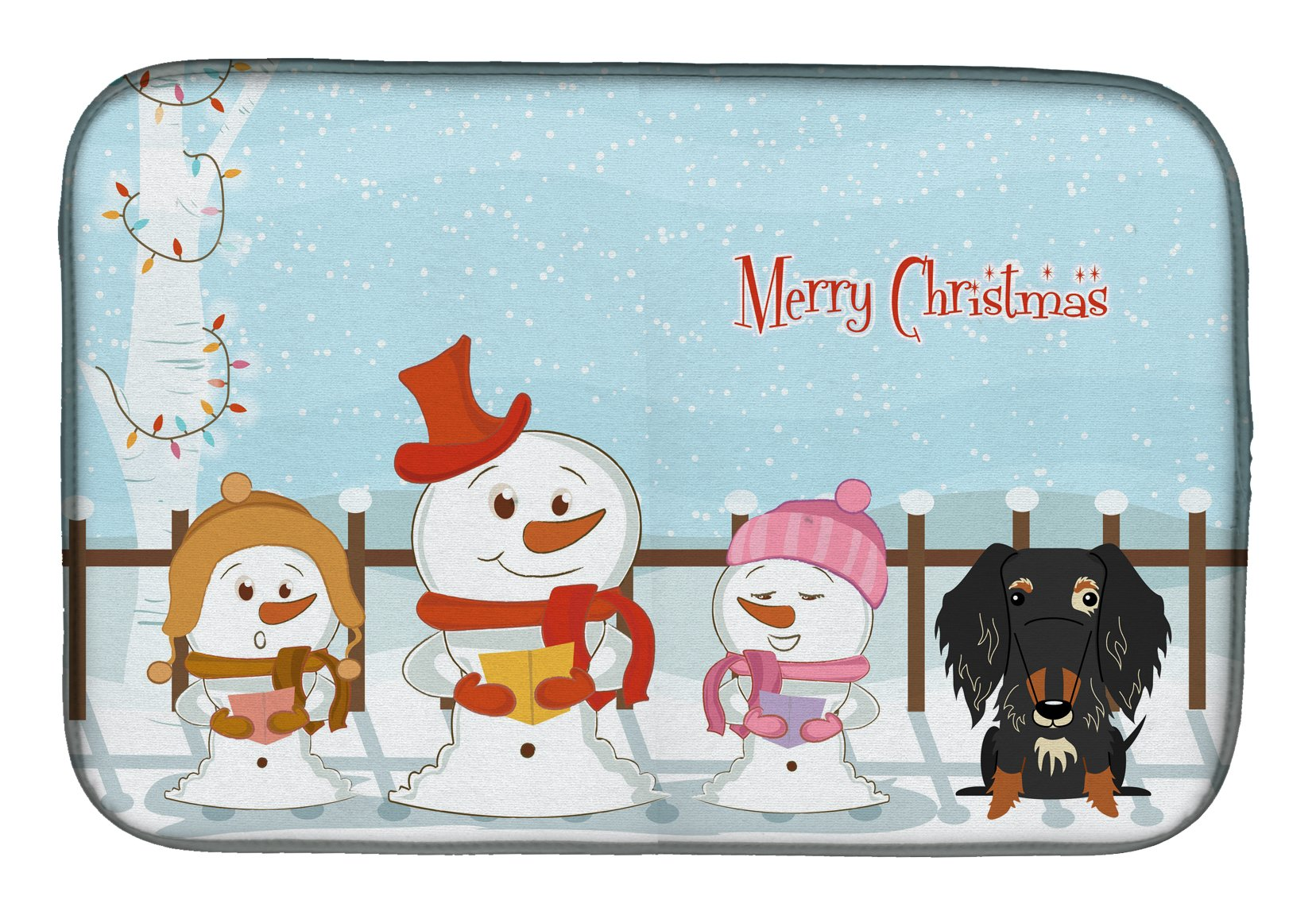 Merry Christmas Carolers Wire Haired Dachshund Dapple Dish Drying Mat BB2459DDM by Caroline's Treasures