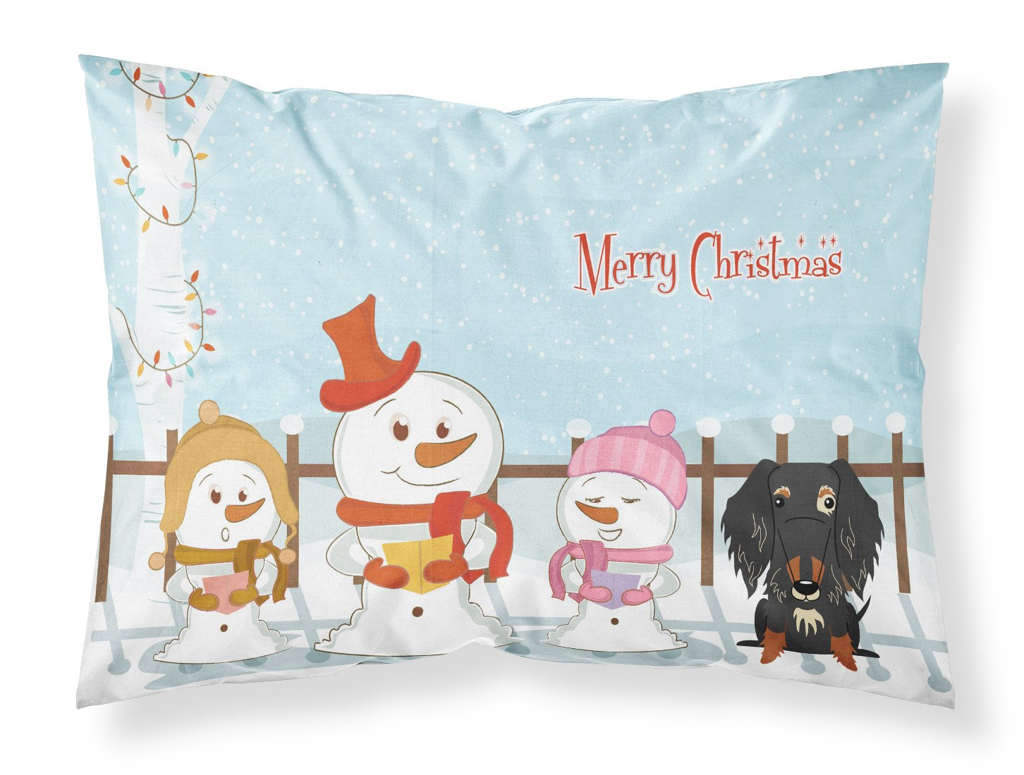 Merry Christmas Carolers Wire Haired Dachshund Dapple Fabric Standard Pillowcase BB2459PILLOWCASE by Caroline's Treasures