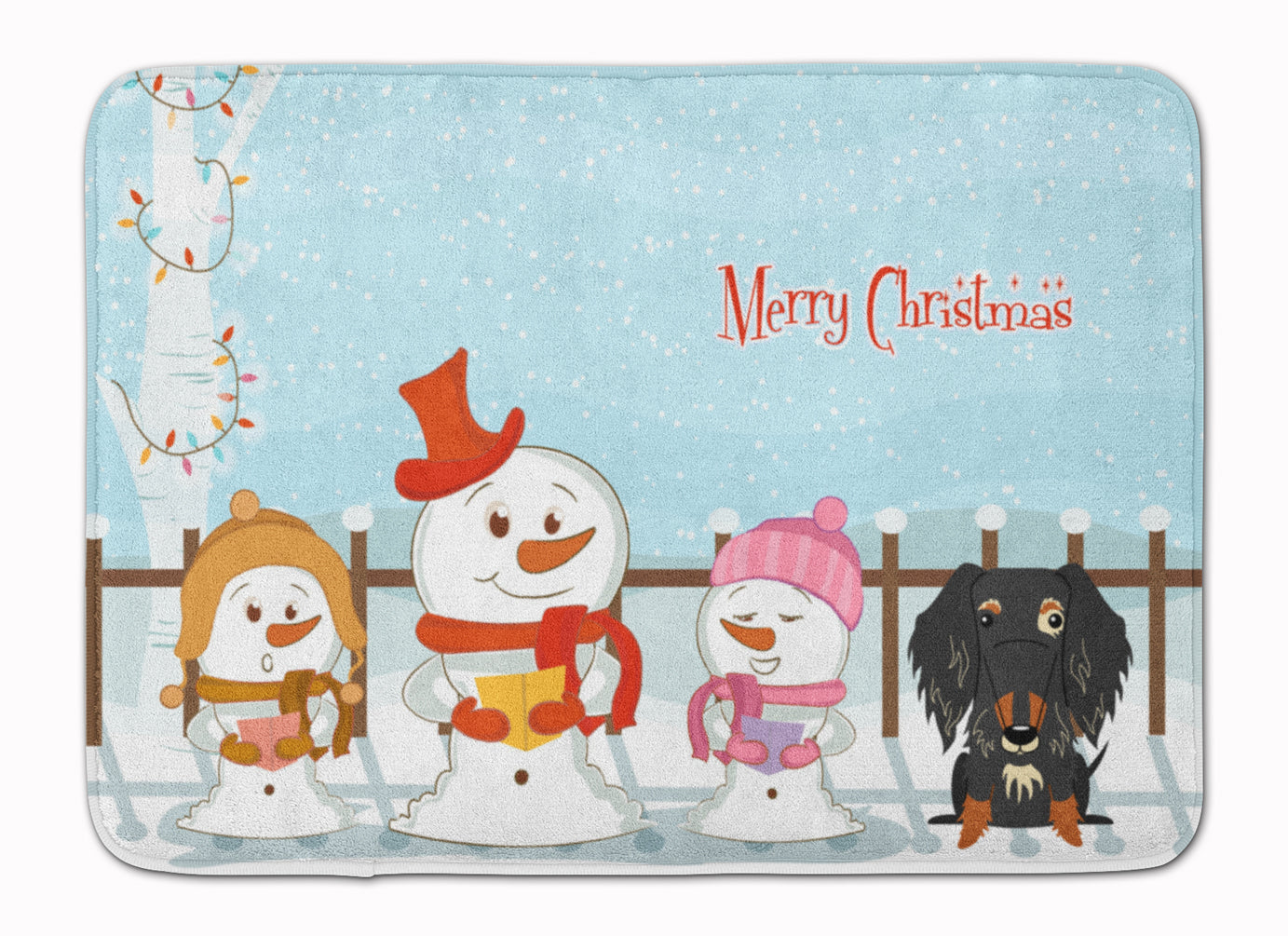 Merry Christmas Carolers Wire Haired Dachshund Dapple Machine Washable Memory Foam Mat BB2459RUG by Caroline's Treasures