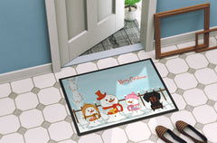 Merry Christmas Carolers Dachshund Black Tan Indoor or Outdoor Mat 24x36 BB2463JMAT