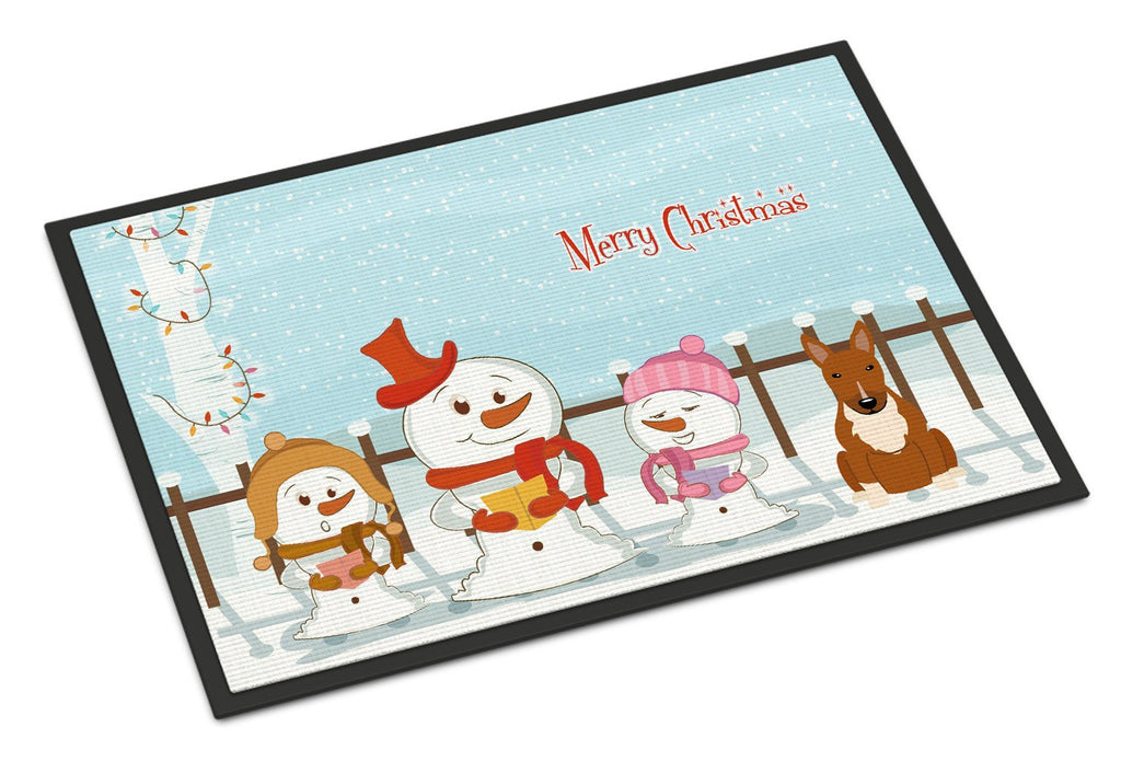 Buy this Merry Christmas Carolers Bull Terrier Red Indoor or Outdoor Mat 18x27 BB2465MAT