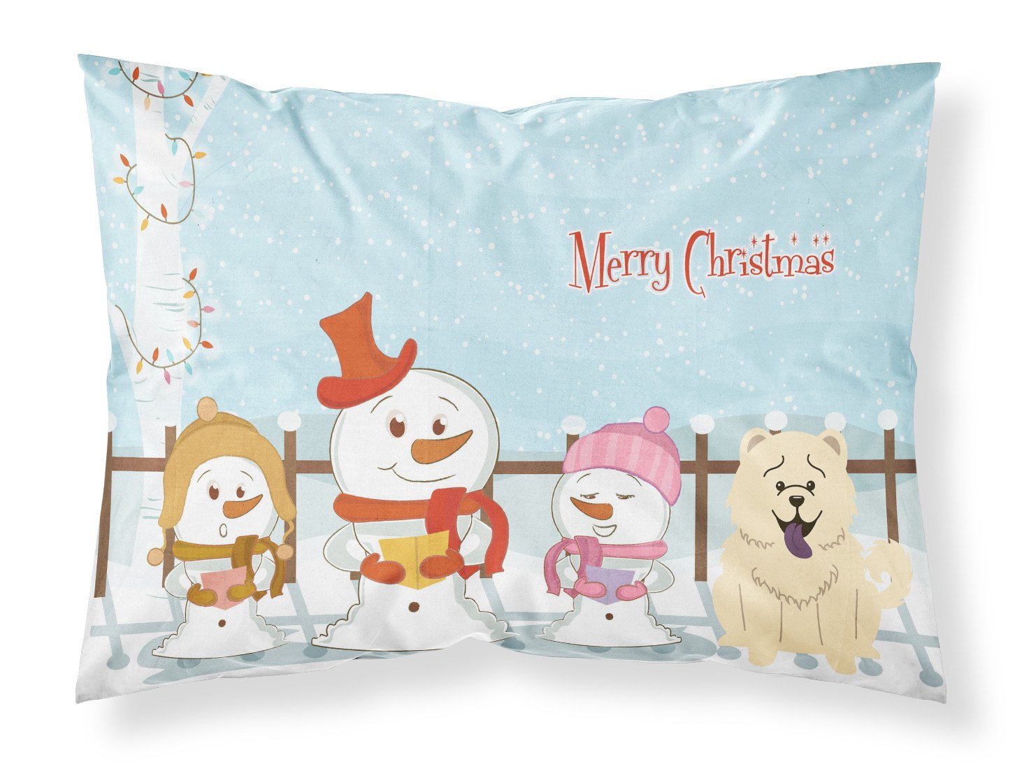 Buy this Merry Christmas Carolers Chow Chow White Fabric Standard Pillowcase BB2471PILLOWCASE