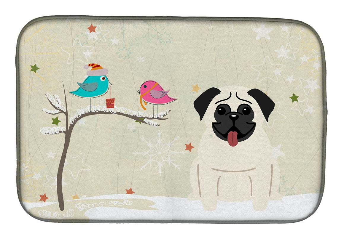 Buy this Christmas Presents between Friends Pug Cream Dish Drying Mat BB2476DDM