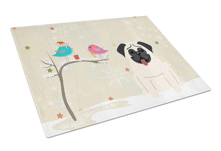 Buy this Christmas Presents between Friends Pug Cream Glass Cutting Board Large BB2476LCB