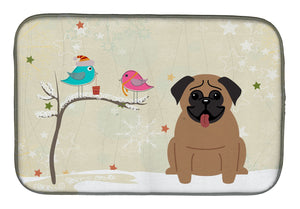 Buy this Christmas Presents between Friends Pug Brown Dish Drying Mat BB2477DDM