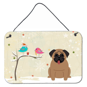 Buy this Christmas Presents between Friends Pug Brown Wall or Door Hanging Prints BB2477DS812