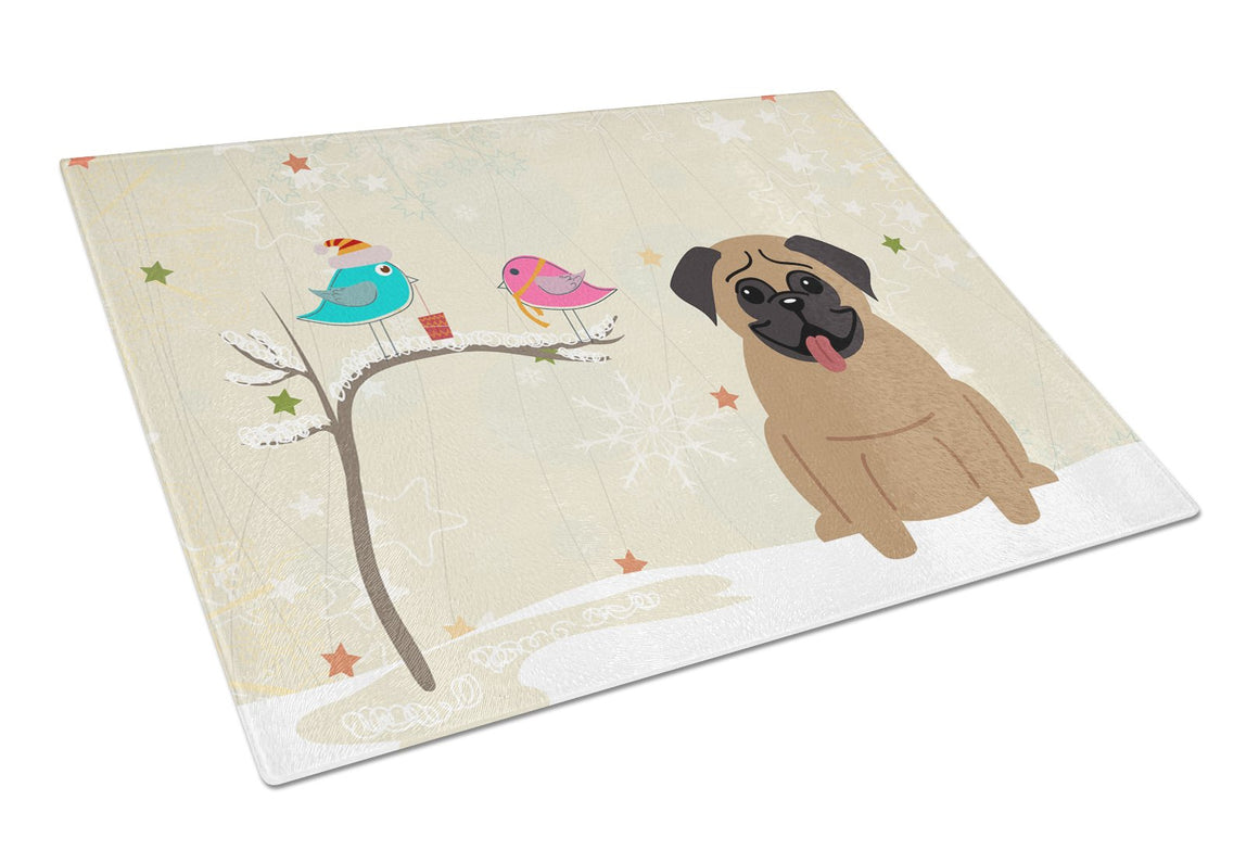 Buy this Christmas Presents between Friends Pug Brown Glass Cutting Board Large BB2477LCB