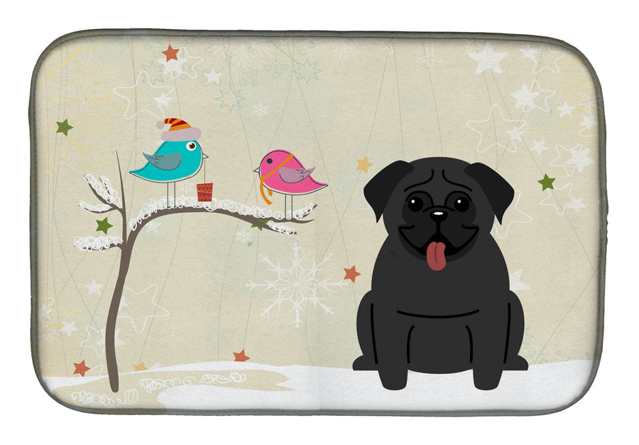 Buy this Christmas Presents between Friends Pug Black Dish Drying Mat BB2478DDM