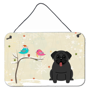 Buy this Christmas Presents between Friends Pug Black Wall or Door Hanging Prints BB2478DS812
