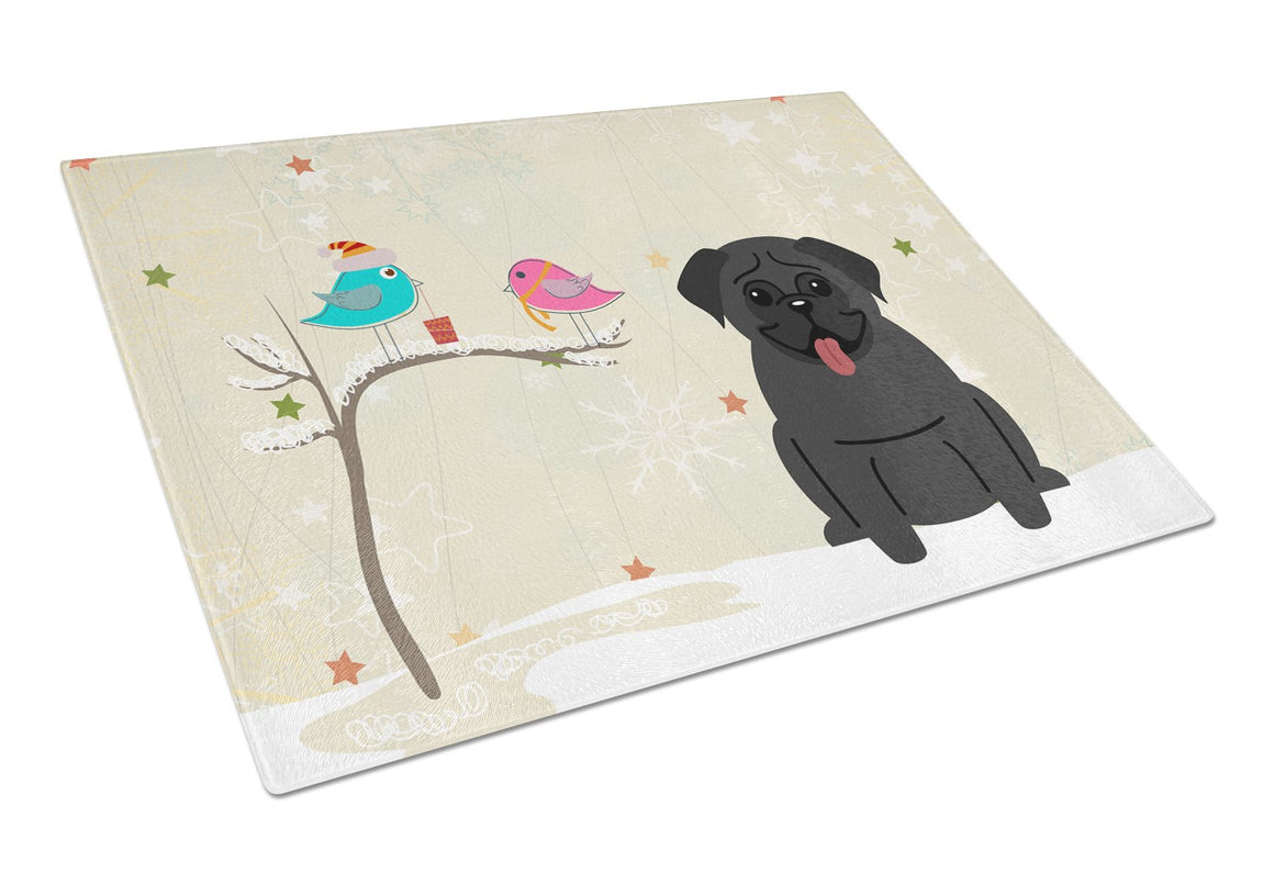 Buy this Christmas Presents between Friends Pug Black Glass Cutting Board Large BB2478LCB