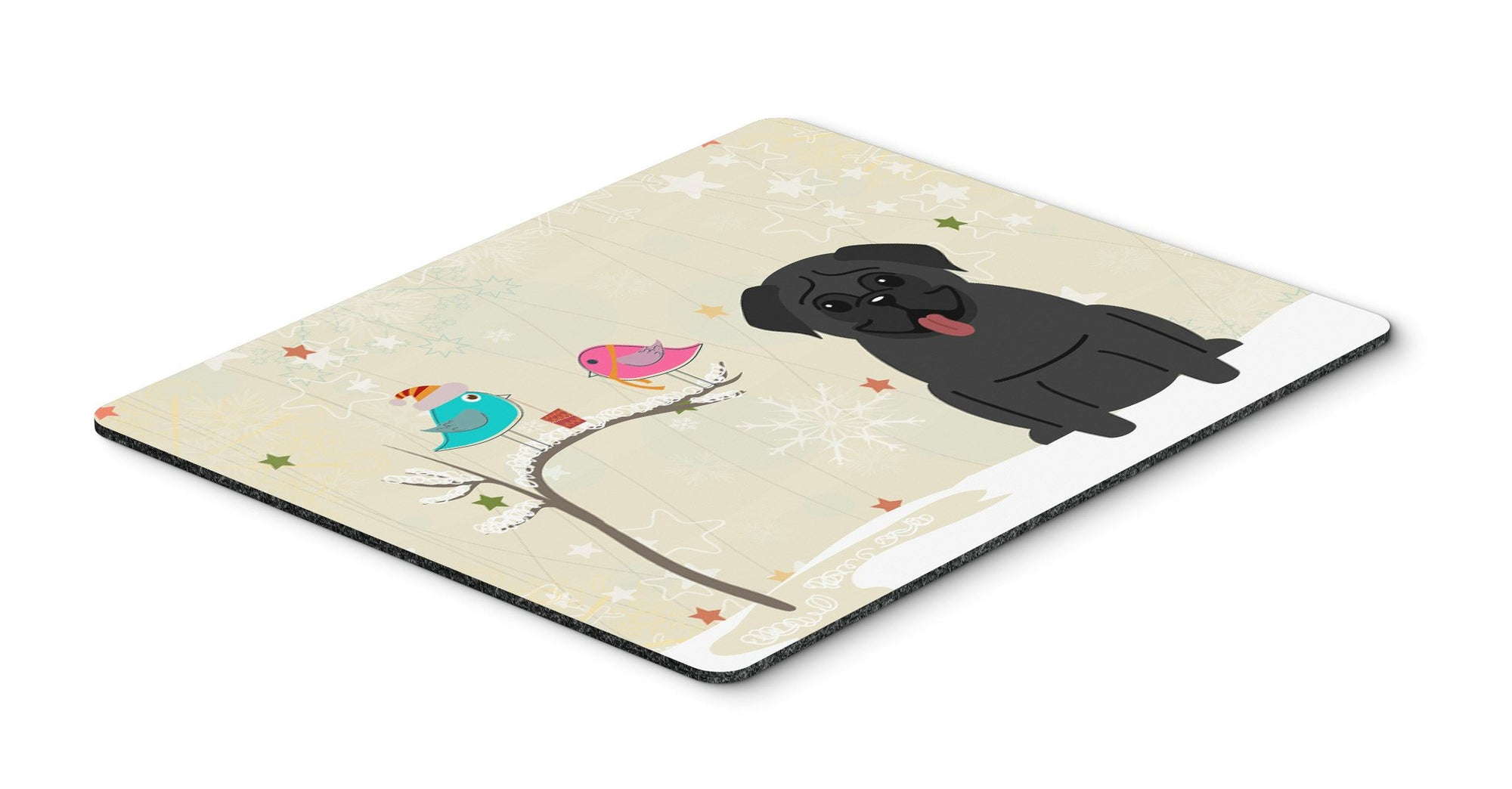Christmas Presents between Friends Pug Black Mouse Pad, Hot Pad or Trivet BB2478MP by Caroline's Treasures