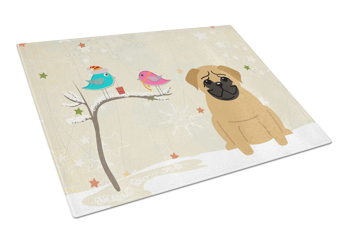 Buy this Christmas Presents between Friends Pug Brown Glass Cutting Board Large BB2479LCB