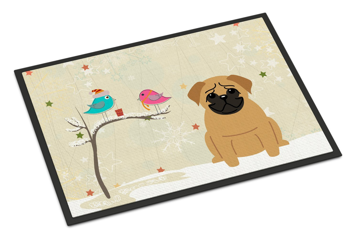 Christmas Presents between Friends Pug Brown Indoor or Outdoor Mat 18x27 BB2479MAT by Caroline's Treasures