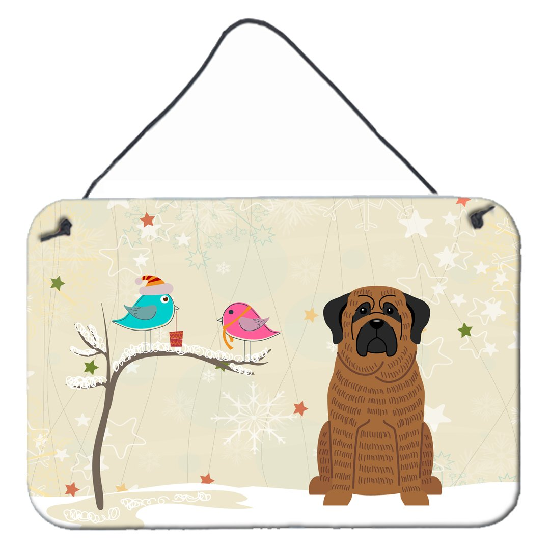 Buy this Christmas Presents between Friends Mastiff Brindle Wall or Door Hanging Prints BB2487DS812