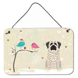 Buy this Christmas Presents between Friends Mastiff Brindle White Wall or Door Hanging Prints BB2488DS812
