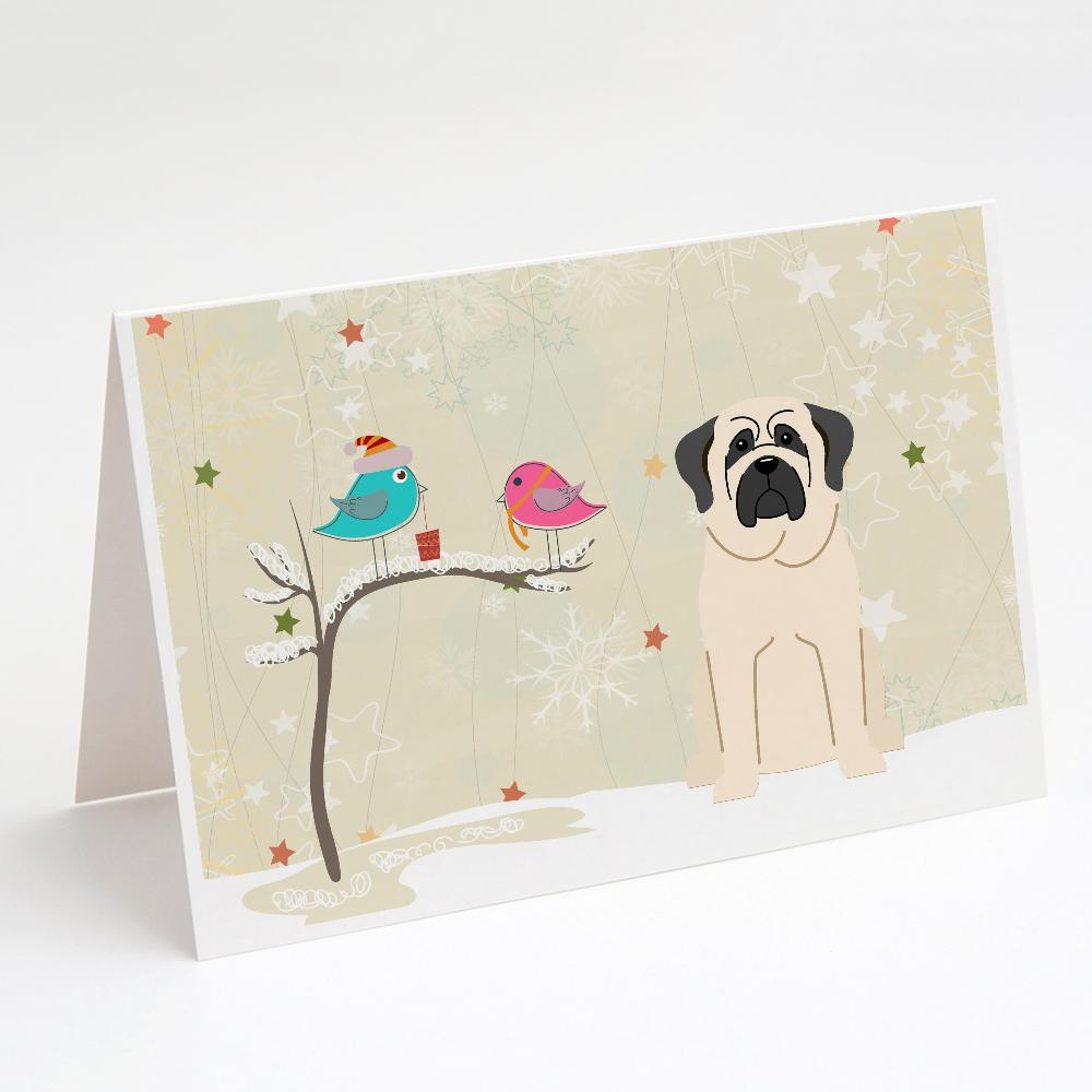Buy this Christmas Presents between Friends Mastiff - White Greeting Cards and Envelopes Pack of 8