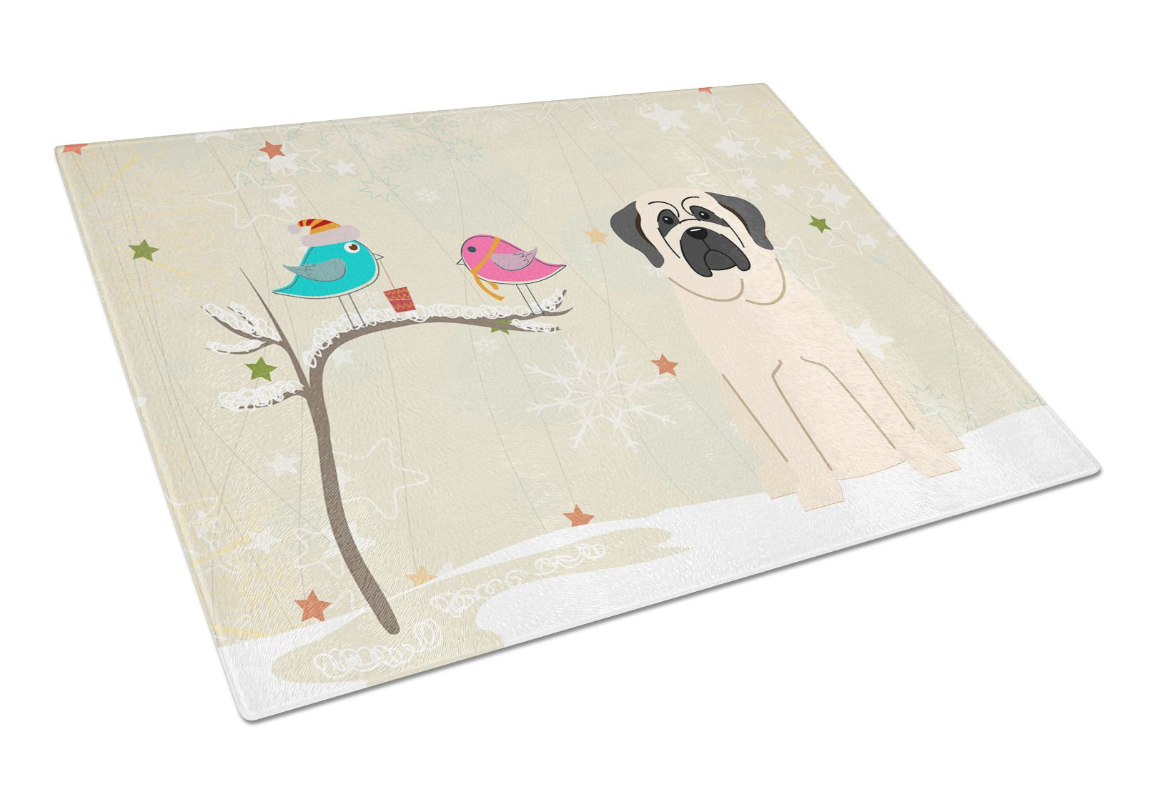 Christmas Presents between Friends Mastiff White Glass Cutting Board Large BB2489LCB by Caroline's Treasures