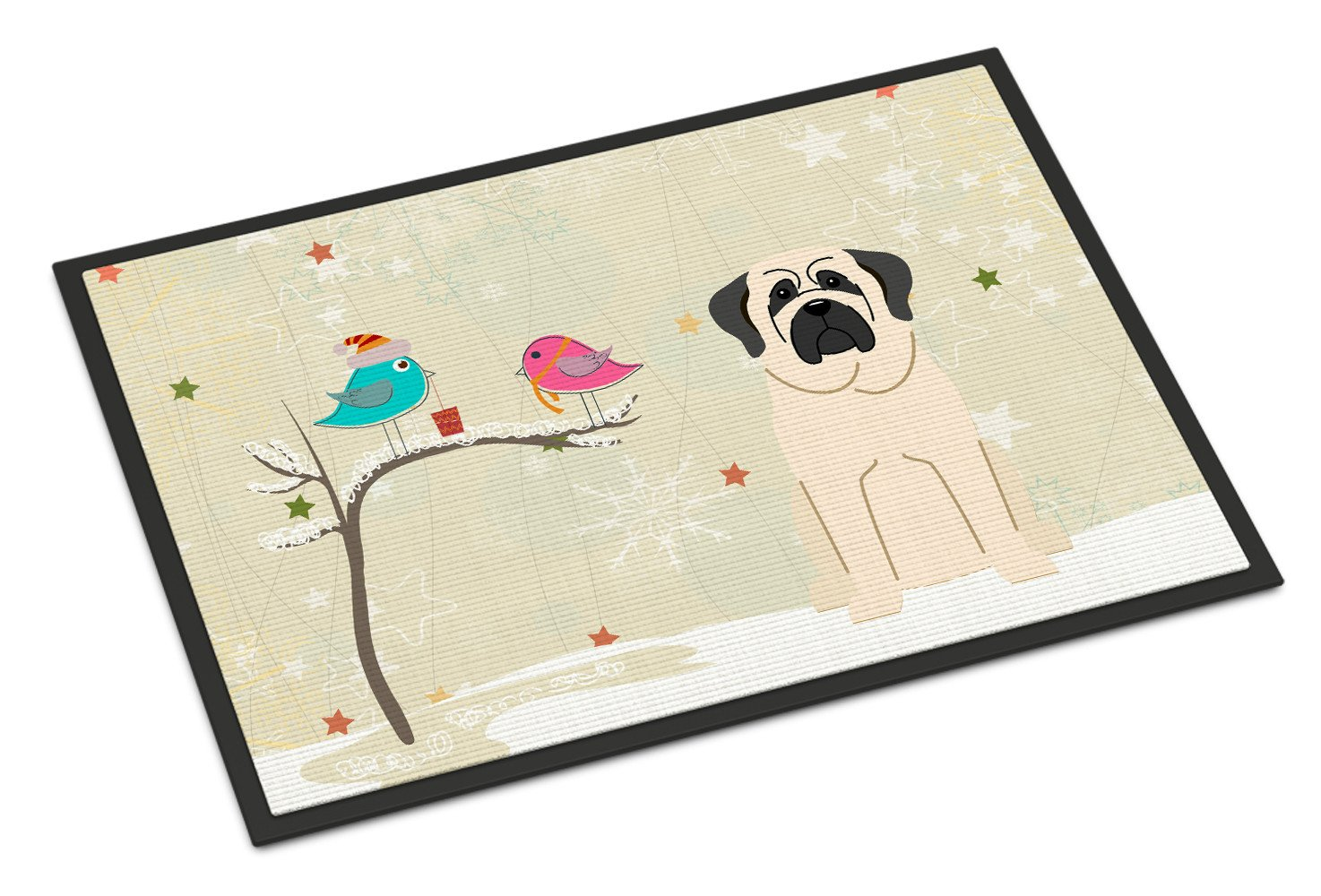 Christmas Presents between Friends Mastiff White Indoor or Outdoor Mat 18x27 BB2489MAT - the-store.com