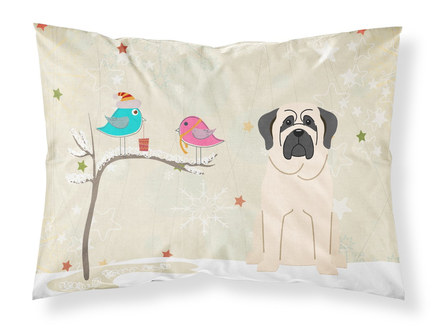 Christmas Presents between Friends Mastiff White Fabric Standard Pillowcase BB2489PILLOWCASE by Caroline's Treasures