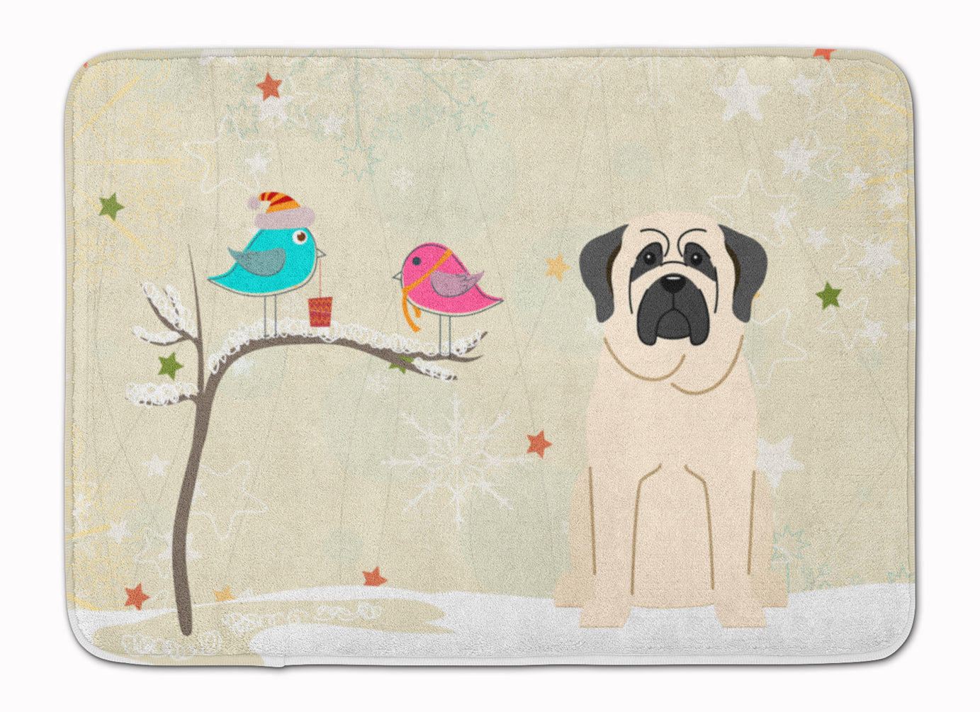 Christmas Presents between Friends Mastiff White Machine Washable Memory Foam Mat BB2489RUG by Caroline's Treasures