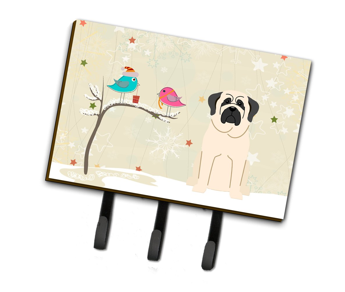 Christmas Presents between Friends Mastiff White Leash or Key Holder BB2489TH68 by Caroline's Treasures