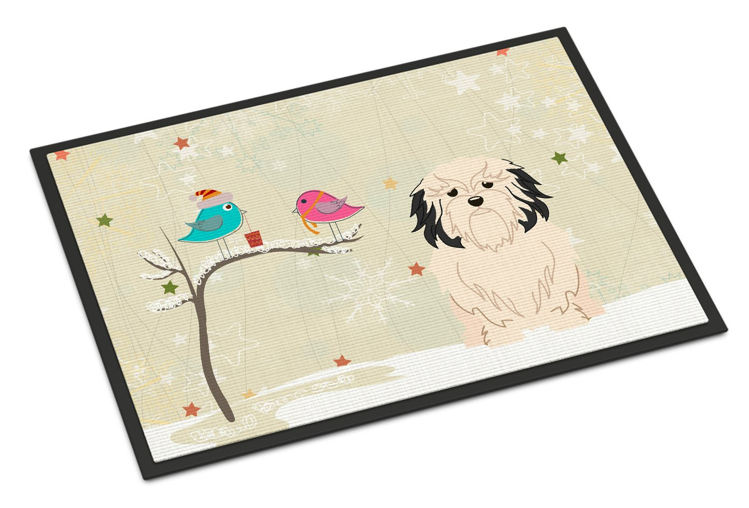 Christmas Presents between Friends Lowchen Indoor or Outdoor Mat 24x36 BB2491JMAT - the-store.com