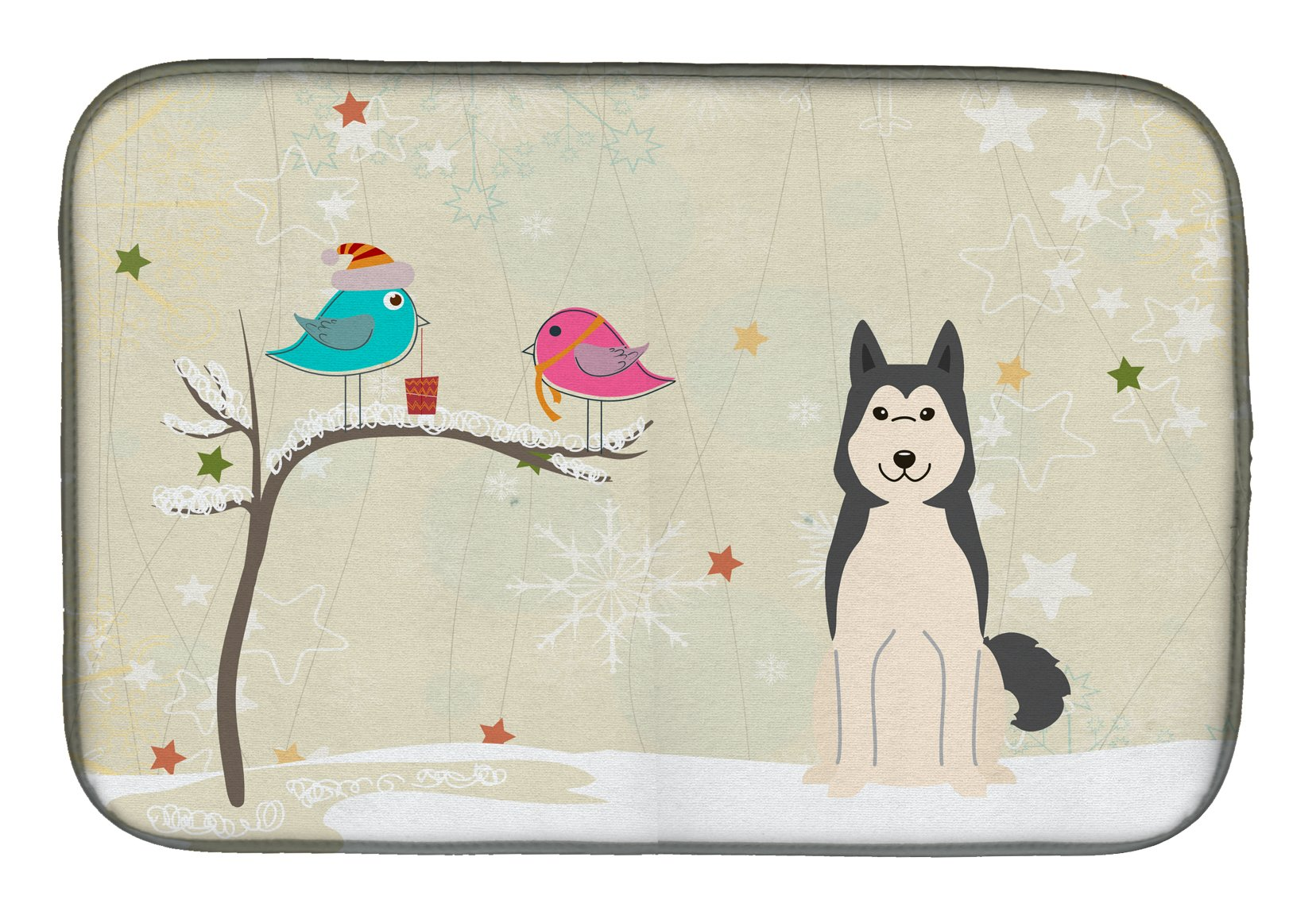 Buy this Christmas Presents between Friends West Siberian Laika Spitz Dish Drying Mat BB2497DDM