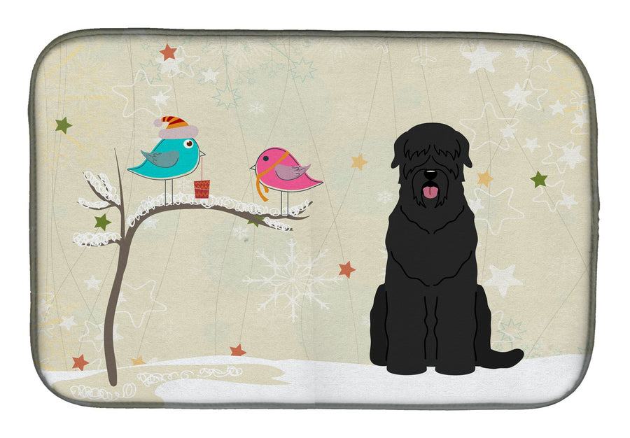 Buy this Christmas Presents between Friends Black Russian Terrier Dish Drying Mat BB2498DDM