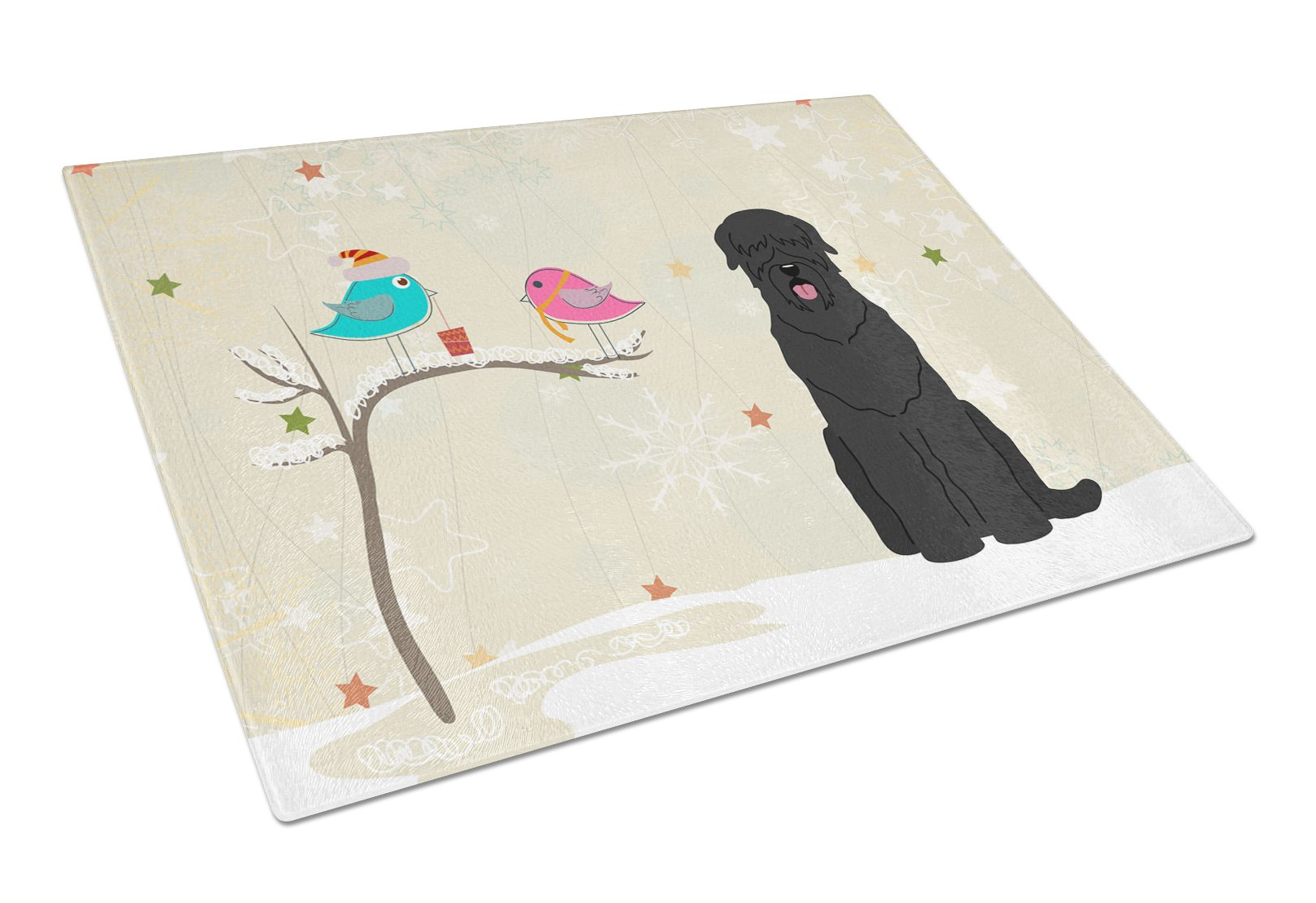 Buy this Christmas Presents between Friends Black Russian Terrier Glass Cutting Board Large BB2498LCB