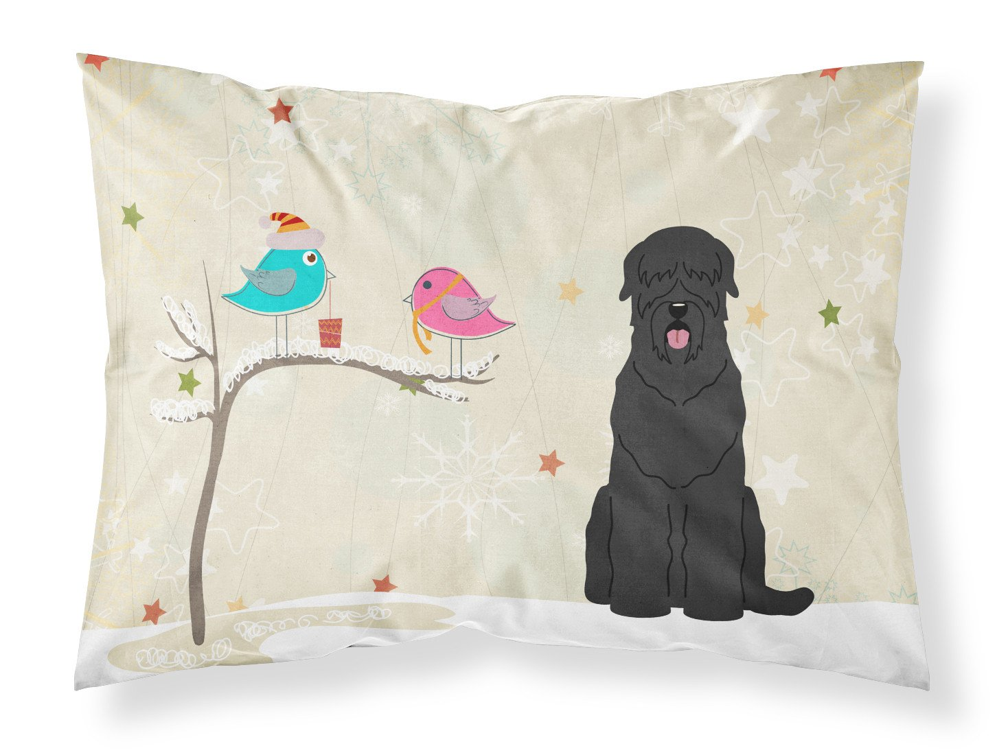Christmas Presents between Friends Black Russian Terrier Fabric Standard Pillowcase BB2498PILLOWCASE by Caroline's Treasures