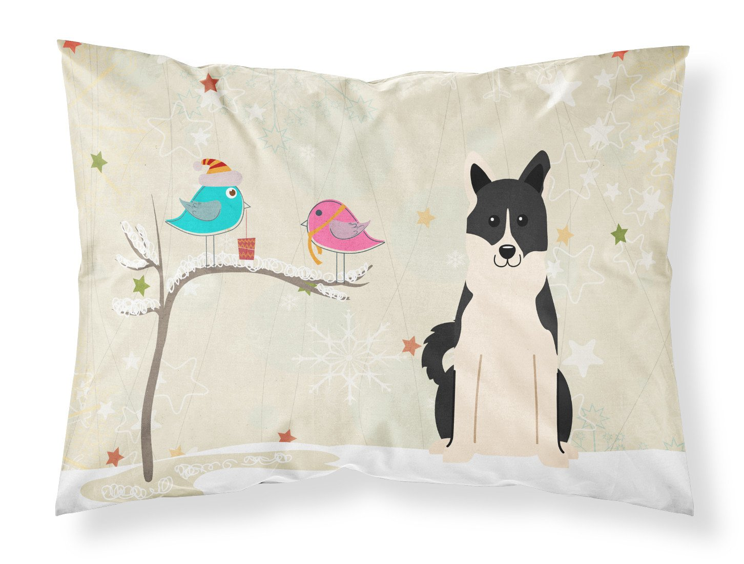 Christmas Presents between Friends Russo-European Laika Spitz Fabric Standard Pillowcase BB2501PILLOWCASE by Caroline's Treasures