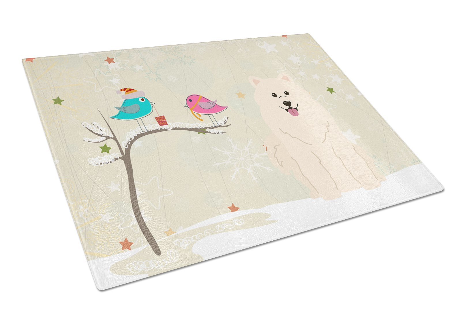 Buy this Christmas Presents between Friends Samoyed Glass Cutting Board Large BB2502LCB