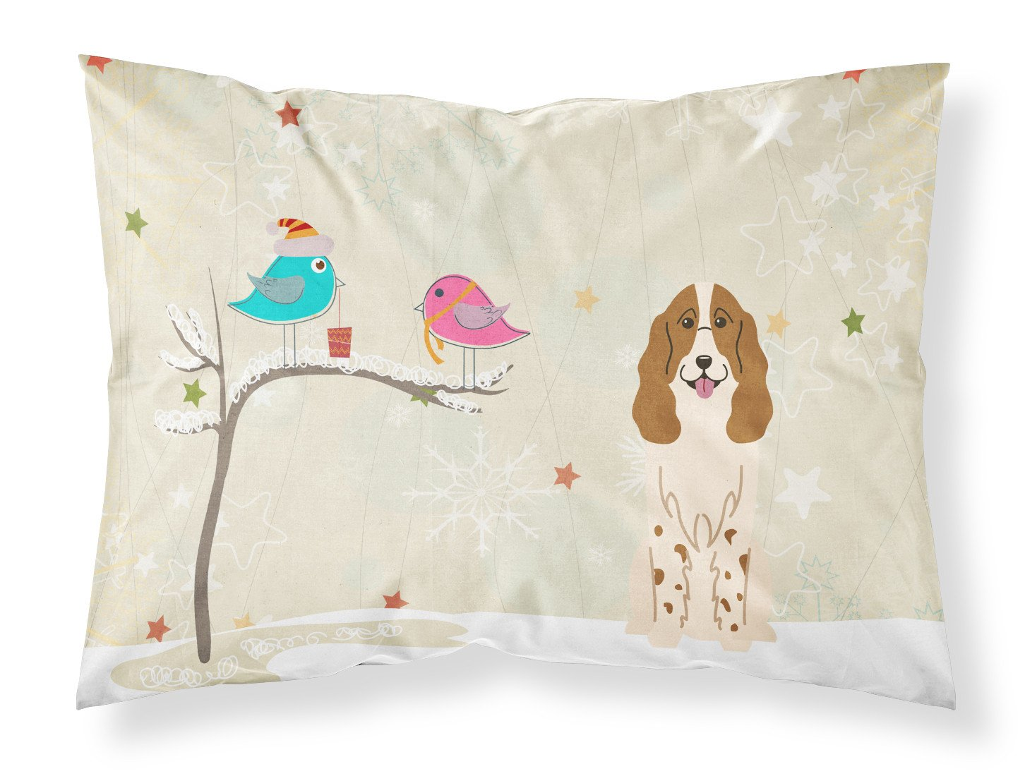 Christmas Presents between Friends Russian Spaniel Fabric Standard Pillowcase BB2503PILLOWCASE by Caroline's Treasures