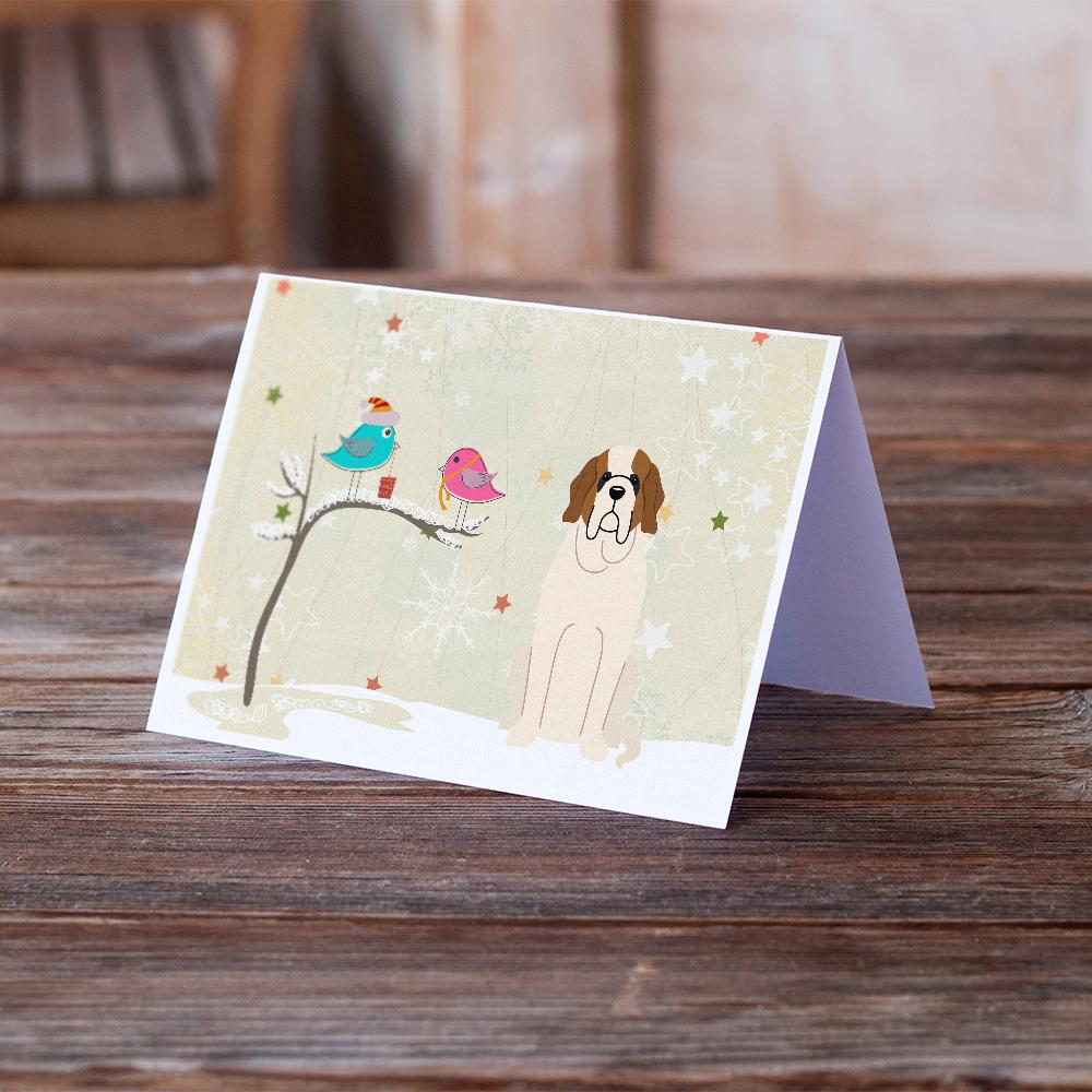 Buy this Christmas Presents between Friends Saint Bernard Greeting Cards and Envelopes Pack of 8