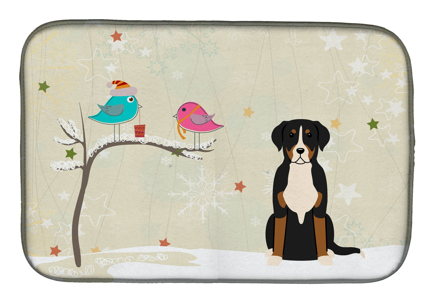 Christmas Presents between Friends Greater Swiss Mountain Dog Dish Drying Mat BB2509DDM by Caroline's Treasures