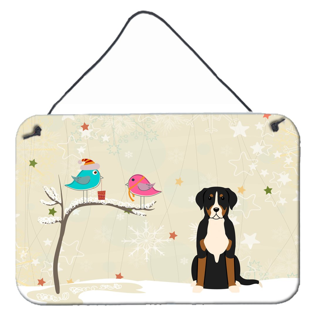Christmas Presents between Friends Greater Swiss Mountain Dog Wall or Door Hanging Prints by Caroline's Treasures