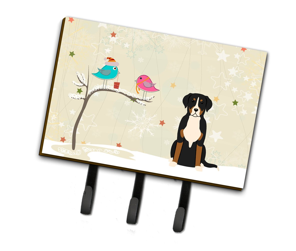Christmas Presents between Friends Greater Swiss Mountain Dog Leash or Key Holder by Caroline's Treasures