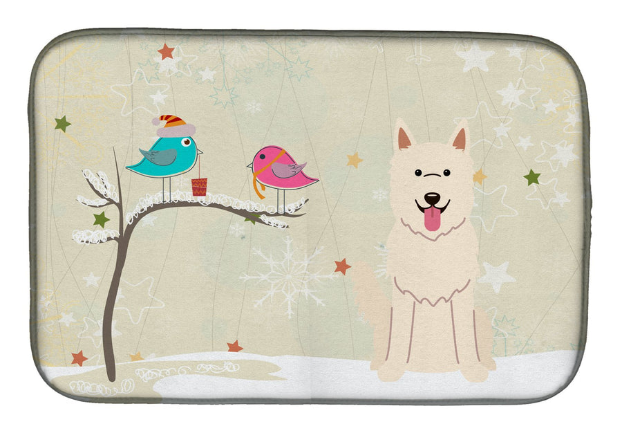 Buy this Christmas Presents between Friends White German Shepherd Dish Drying Mat BB2517DDM