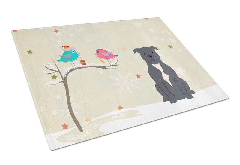 Buy this Staffordshire Bull Terrier Blue Glass Cutting Board Large BB2518LCB