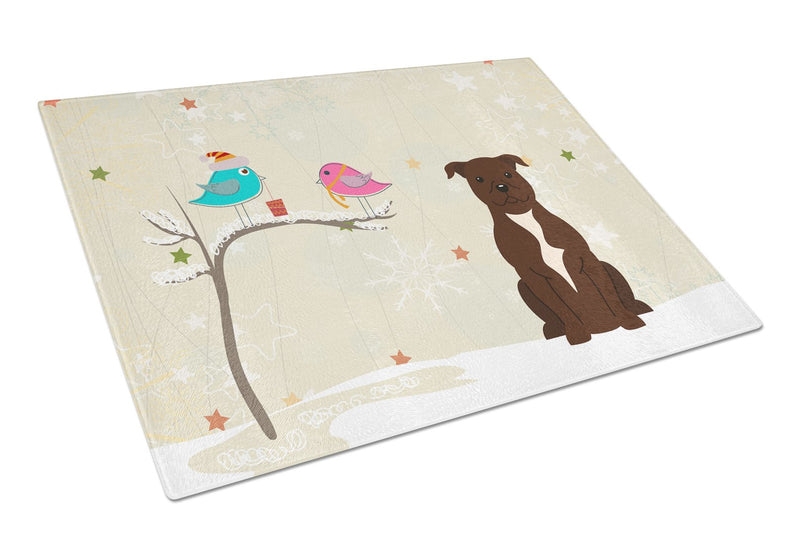 Buy this Staffordshire Bull Terrier Chocolate Glass Cutting Board Large BB2520LCB