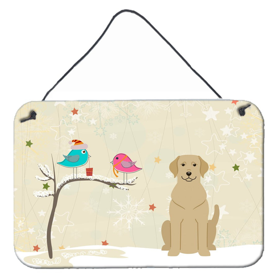 Buy this Christmas Presents between Friends Yellow Labrador Wall or Door Hanging Prints BB2527DS812
