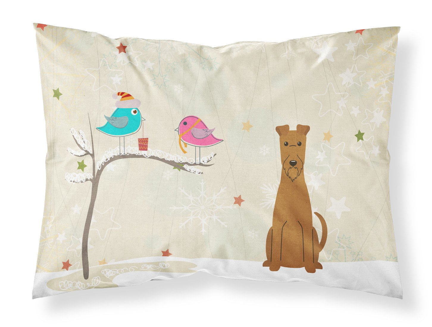 Christmas Presents between Friends Irish Terrier Fabric Standard Pillowcase BB2534PILLOWCASE by Caroline's Treasures