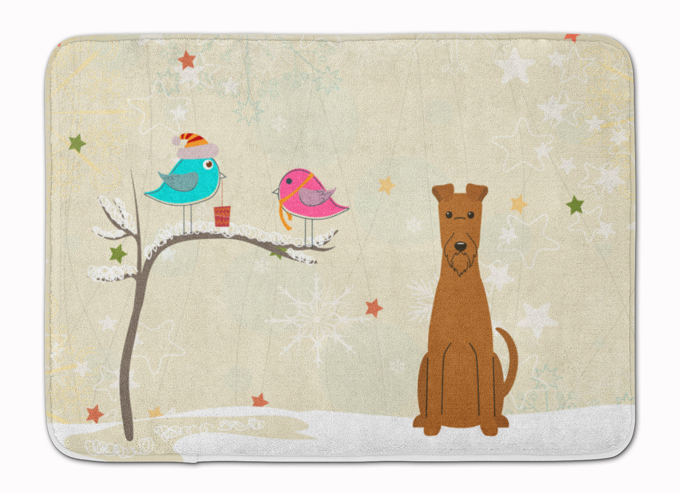 Christmas Presents between Friends Irish Terrier Machine Washable Memory Foam Mat BB2534RUG by Caroline's Treasures
