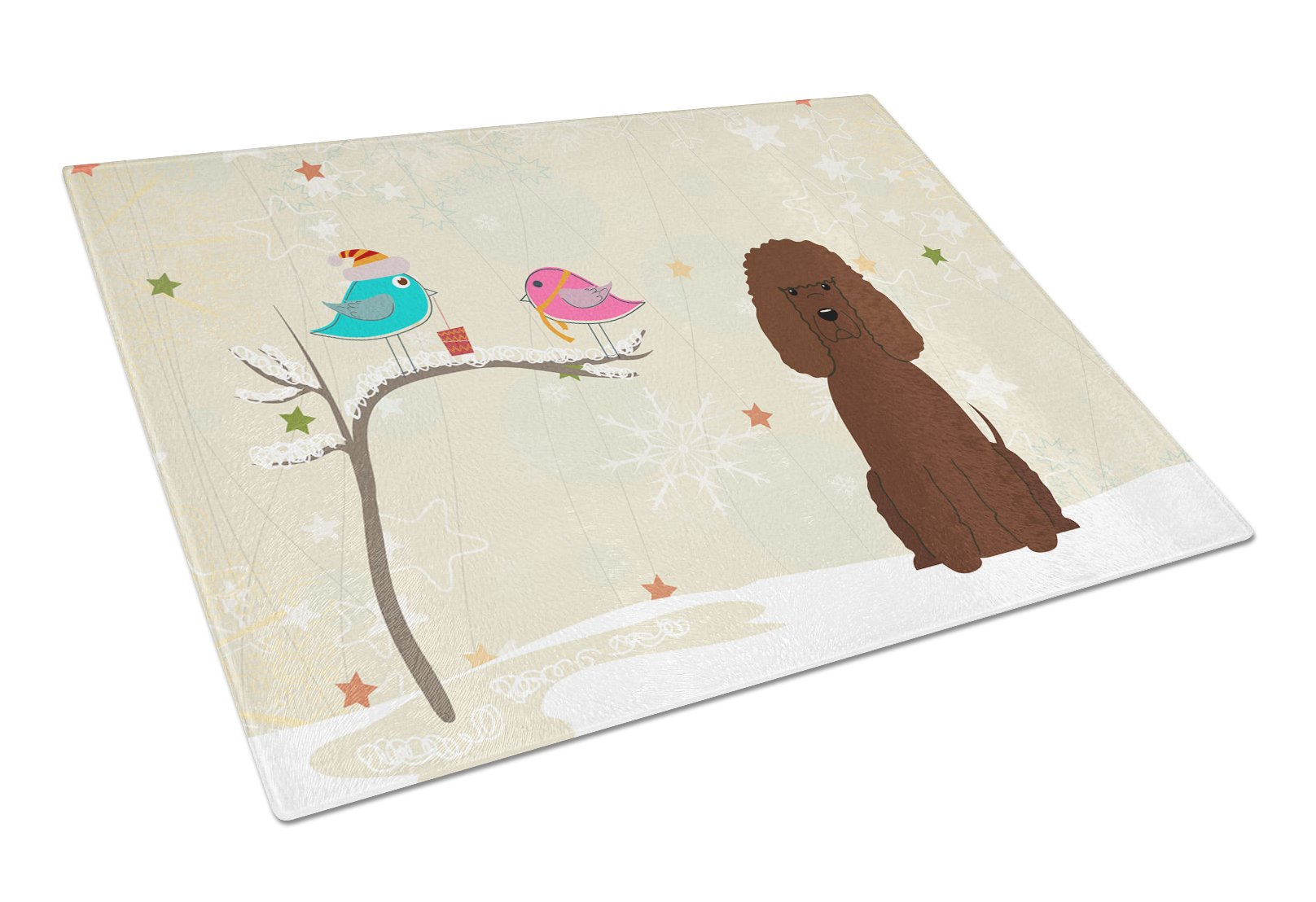 Buy this Christmas Presents between Friends Irish Water Spaniel Glass Cutting Board Large BB2535LCB