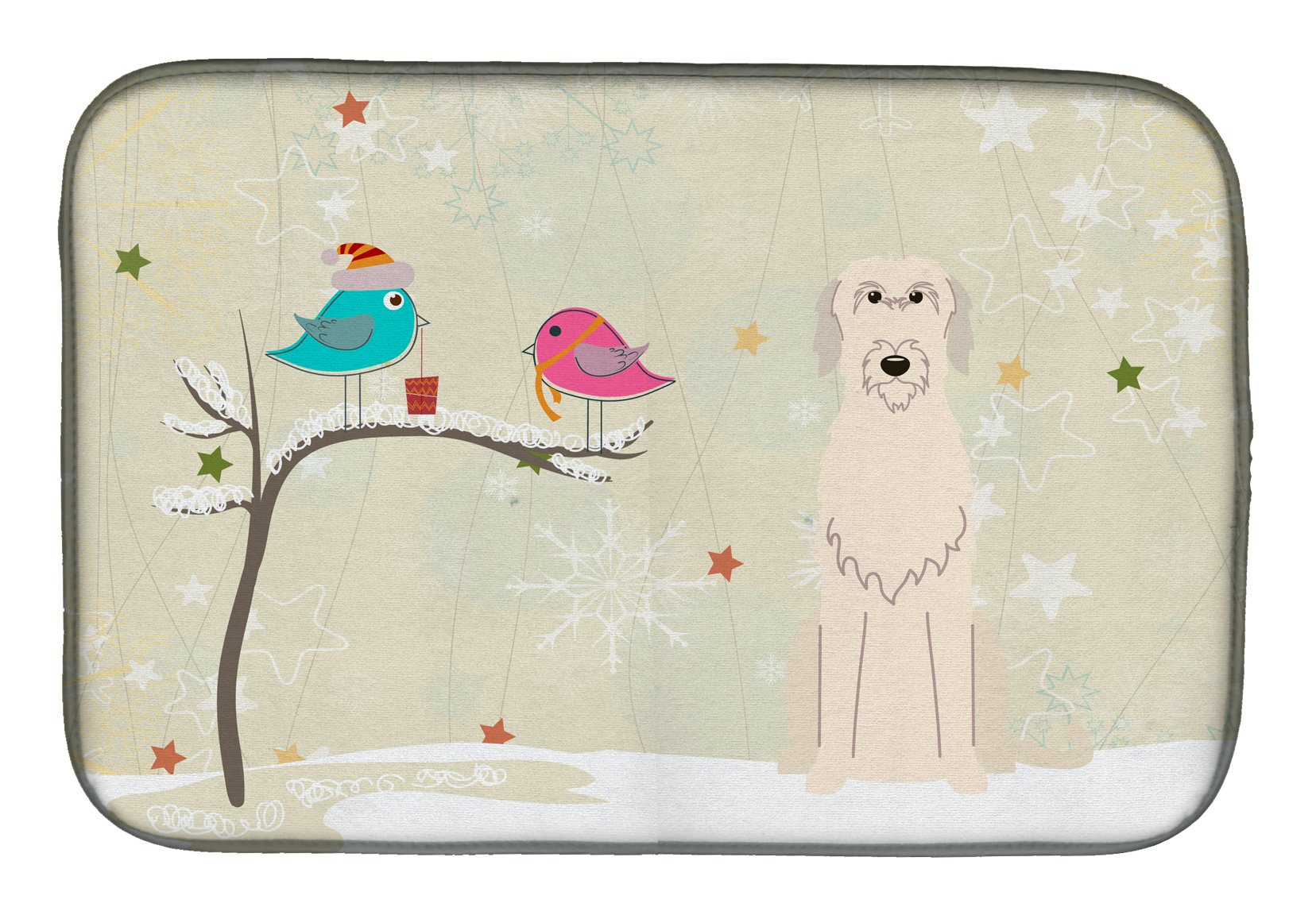 Christmas Presents between Friends Irish Wolfhound Dish Drying Mat BB2537DDM by Caroline's Treasures