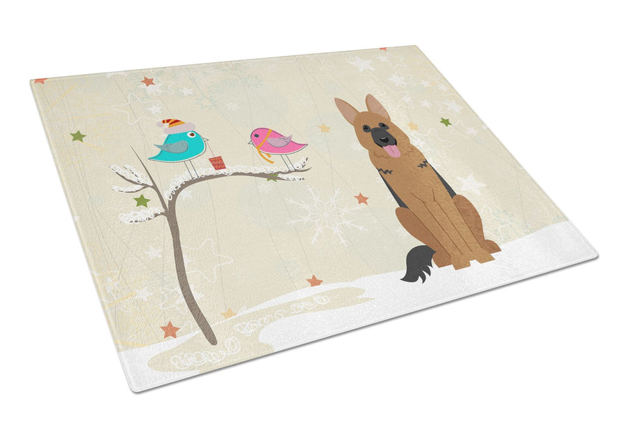 Buy this Christmas Presents between Friends German Shepherd Glass Cutting Board Large BB2539LCB