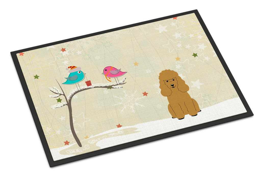 Buy this Christmas Presents between Friends Poodle Tan Indoor or Outdoor Mat 18x27 BB2541MAT