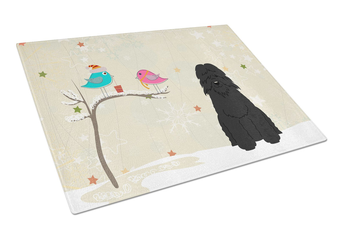 Buy this Christmas Presents between Friends Bouvier des Flandres Glass Cutting Board Large BB2546LCB